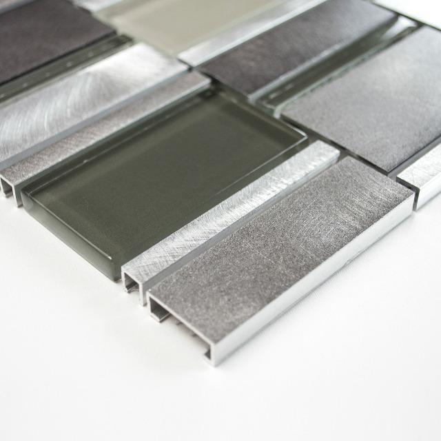fliesen glasmosaik mosaikfliese klar grau kristall edelstahl 8mm neu 006 auf. Black Bedroom Furniture Sets. Home Design Ideas