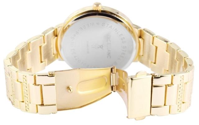 excellanc 1523 damen armbanduhr farbe gold mit strasssteinen metallarmband auf. Black Bedroom Furniture Sets. Home Design Ideas