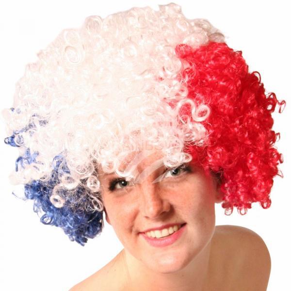 PA-m07 Afro Perücke Frankreich USA Flagge Rot Weiß Blau