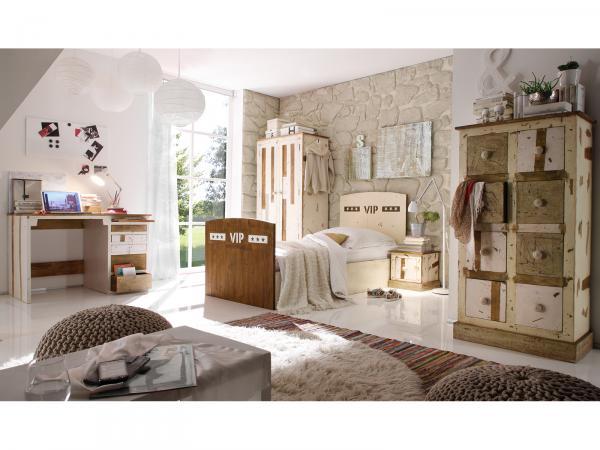 5 teiliges Kinderzimmer-Set aus weiß lackiertem Mango-Holz