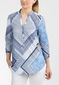 ETERNA COMOFRT FIT Dreiviertelarm-Bluse blau gemustert