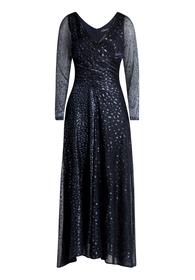 Kleid Lang 3/4 Arm - 8593/Metallic Blue
