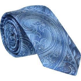 Krawatte 6,0cm - Paisley Farbverlauf Mittelblau