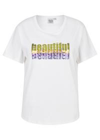 Statement-T-Shirt mit Paillettenapplikation