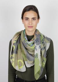 Tarmuster-Tuch mit Slogan-Print aus recyceltem Polyester