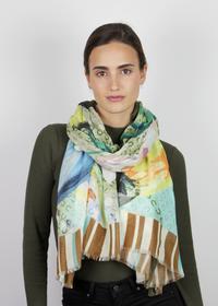 Farbenfroher Multi-Mustermix-Schal aus Baumwolle und Modal