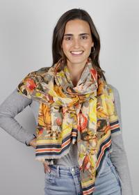Blumen-Schal aus Baumwolle und Modal