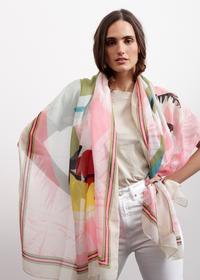Farbenfroher Papageien-Schal aus Baumwolle und Modal