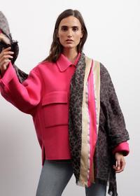 Leo-Schal mit Glanzstreifen aus Wolle, Baumwolle und Modal