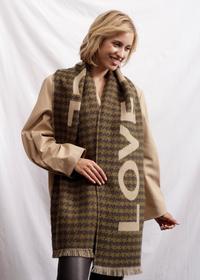 Ultrasofter Glencheck-Schal mit LOVE PIECE Print