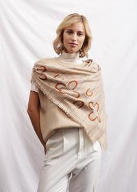 Karo-Tuch mit Logo-Print aus feiner Wolle
