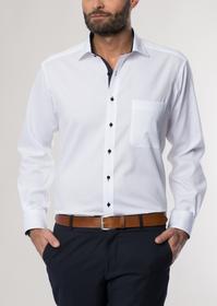 ETERNA Langarm Hemd COMFORT FIT Pinpoint weiss/schwarz unifarben