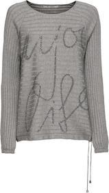 Rundhals-Pullover mit Strass-Schrift auf der Vorderseite