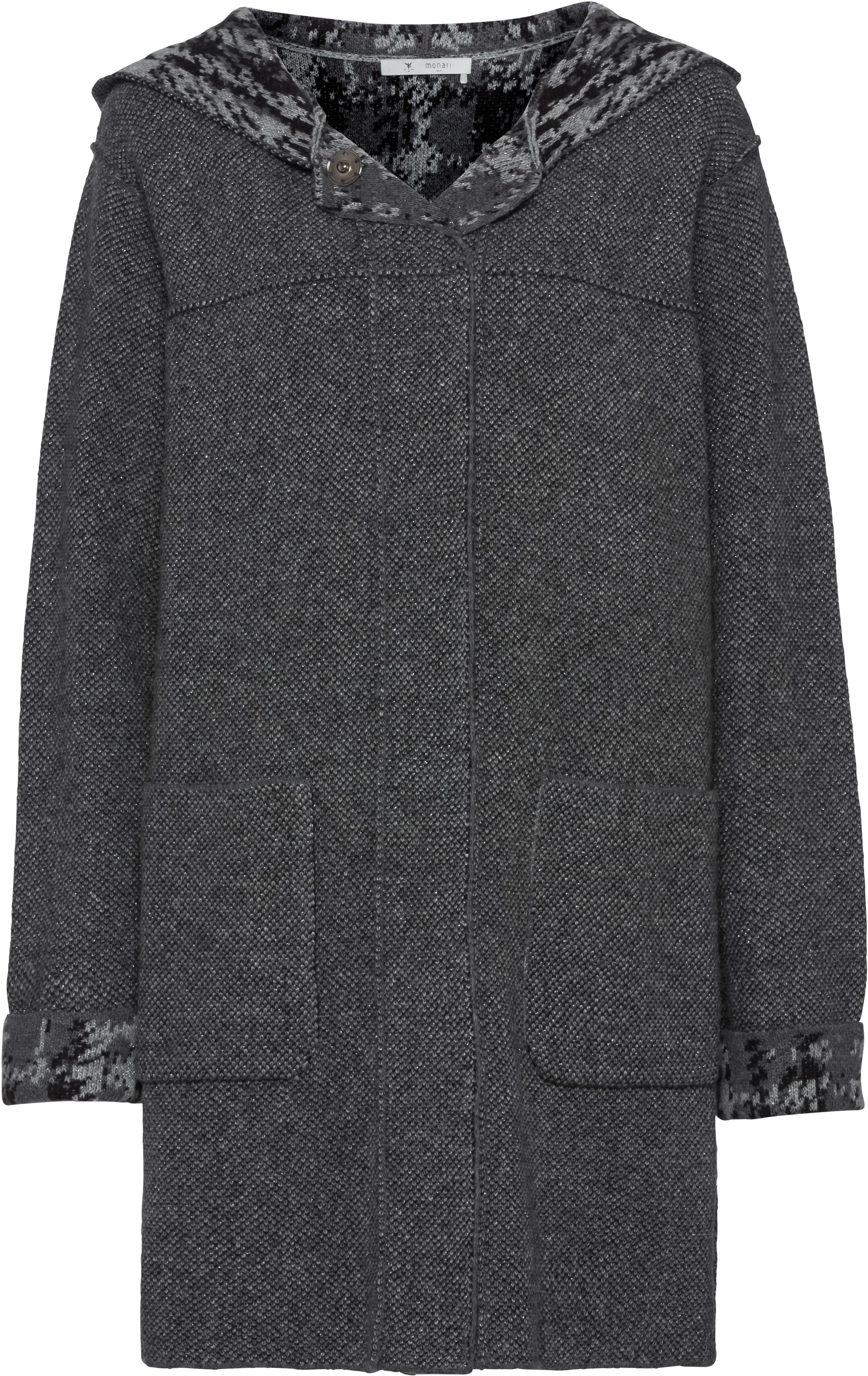 Doubleface Jacquard-Mantel mit Kapuze und Karo-Mustern