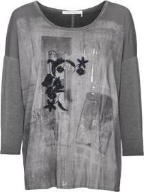 Rundhals-Shirt mit Cold-Dyed Effekt und Blumen-Motivdruck