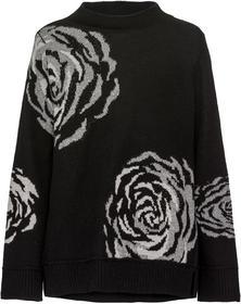 Pullover mit Stehkragen und Blumen Intarsie