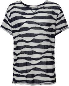 Leinen-Shirt mit 2-farbigen Fancystreifen