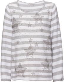 Reiskorn-Pullover mit Allover-Ringelmuster und Nietendetails