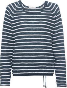 Pullover mit Allover-Ringelmuster, Nietendetails und Rüsche