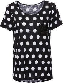 Shirt mit Allover-Punktedruck und Brusttasche aus Pailletten