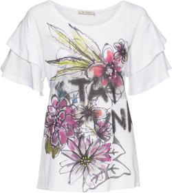 Rundhals-Shirt mit doppeltem Ärmelvolant und Flower-Print