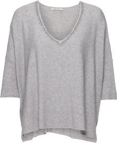 Oversize-Pullover mit Nieten- und Strass am V-Ausschnitt
