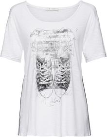 Shirt mit Paspelbändern, Glitter-Schriftzug und Druck