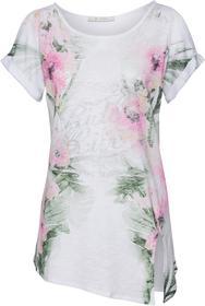 Shirt mit Knotendetail und Blumendruck mit Glitterschriftzug