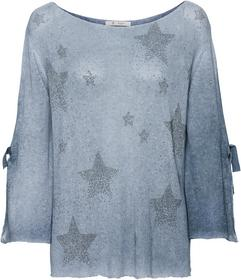 kastig geschnittener Leinen-Pullover mit Nietenschmuck