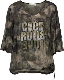Bluse mit V-Ausschnitt und allover Camouflage-Druck
