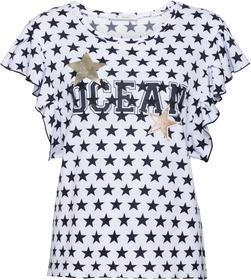 Sweatshirt mit Allover-Sternedruck, Lackdruck und Volants