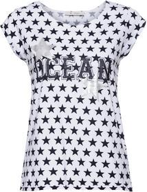 Shirt mit Allover-Sterne-Print, Schrift mit Glitter und Lack