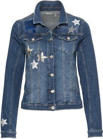 Jeansjacke mit Lackdruck, Pailletten-Patches und Nieten