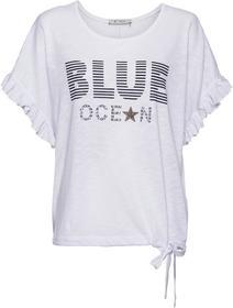 Oversize-Shirt mit Rüschenbesatz, Schriftzug und Nieten