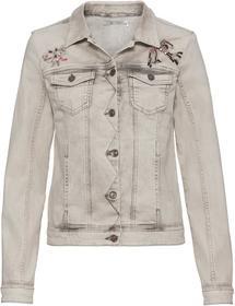 Jeansjacke mit Hemdkragen, Stickerei und Schmuckdetails