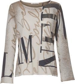 Links bedruckter Pullover mit Schrift- und Lackdruck