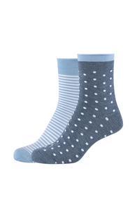 Women silky feeling Socks 2P - 5500/denim melange