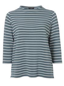 Sweatshirt Stehkragen 3/4 Arm Ringel