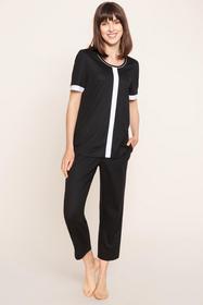 Shirt, 1/2 sleeve, round neck, Black-White