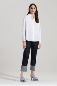 Hemdbluse aus Popeline-Stretch, white
