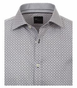 Venti Hemd Body Fit Größe 44 - Grauschwarz - mit modischem Druck - 100% Baumwolle