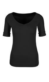 Elastisches Shirt mit V-Ausschnitt