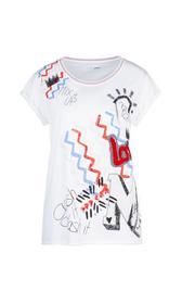 Baumwoll-Shirt mit Druck und Stickerei