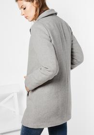 Wollmantel mit Zipper Gesine - marble grey melange