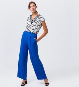 Bluse mit Print und Spitze