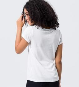 T-Shirt mit samtigem Schriftzug
