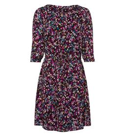 Kleid mit Streublumenmuster und Gürtel