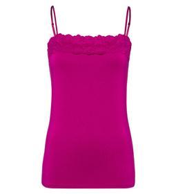 T-Shirt Top Lace Trimming Adjustabl