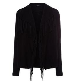 Cardigan, open Style with fringes, black