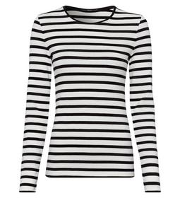 T-Shirt striped 1x1 rib round neck